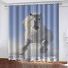 YHIZKD Curtains For Living Room - White Horse On