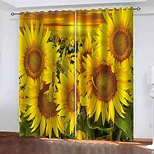 YHIZKD Curtains For Living Room - Yellow Sunflower
