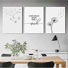 YHJK HD Printing Black White Dandelion Art Print