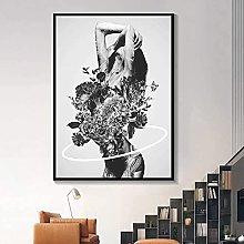 YHJK HD Printing Black White Poster Fashion Sexy