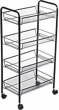 Yhjkvl Storage Trolley Cart 4-layer Black Kitchen