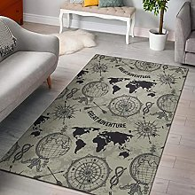 YHML Print Pattern World Map Area Rug/Small / 3ft