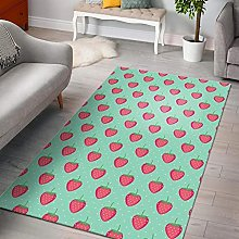 YHML Strawberry Print Pattern Area Rug/Large / 5ft