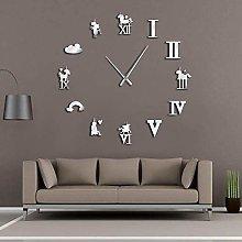 YHZY 1Piece Diy Rainbow Cloud Unicorns Wall Clock