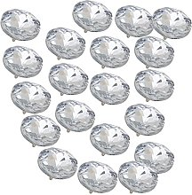 Yibuy 20pcs 25mm Glass Clear Crystal Charm