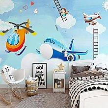 YIERLIFE Wall Mural 3D Wallpaper Cartoon Airplane