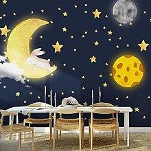 YIERLIFE Wall Mural 3D Wallpaper Cartoon Moon