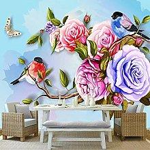 YIERLIFE Wall Mural 3D Wallpaper Color Flower Bird