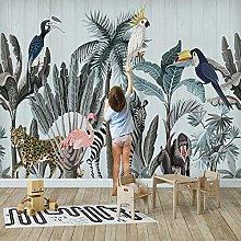 YIERLIFE Wall Mural 3D Wallpaper Flamingo Tropical