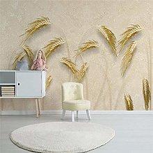 YIERLIFE Wall Mural 3D Wallpaper Golden Reed Wheat