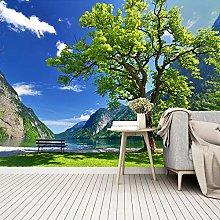 YIERLIFE Wall Mural 3D Wallpaper Green Mountains