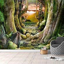 YIERLIFE Wall Mural 3D Wallpaper Green Tree Animal