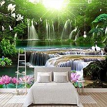 YIERLIFE Wall Mural 3D Wallpaper Green Waterfall
