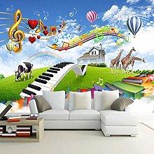 YIERLIFE Wall Mural 3D Wallpaper Music Animals