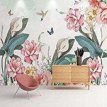 YIERLIFE Wall Mural 3D Wallpaper Pink Flower