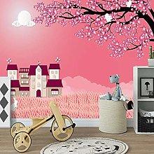 YIERLIFE Wall Mural 3D Wallpaper Pink Sky Flowers