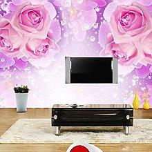 YIERLIFE Wall Mural 3D Wallpaper Rose Flower Rose