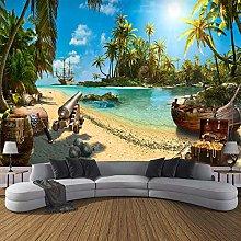 YIERLIFE Wall Mural 3D Wallpaper Sky Beach Coconut