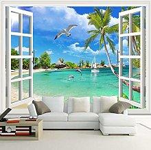 YIERLIFE Wall Mural 3D Wallpaper Sun Beach