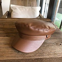 Yifuty Simple and Versatile Leather Cap, Beret,