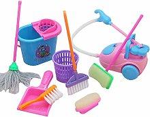 Yihaifu 9pcs/set Pretend Play Mop Broom Toys e
