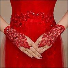 YILAHUAN wedding gloves Ivory Red Short Wedding