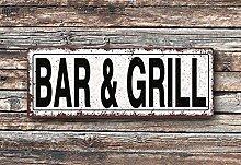 Yilooom Bar And Grill Metal Street Sign, Rustic,