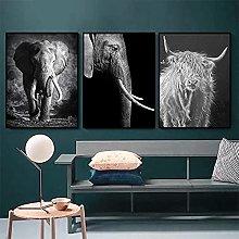 Yimesoy Black And White Elephant Animal Nordic