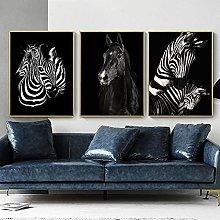 Yimesoy Black And White Horse Zebra Animal Nordic