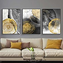 Yimesoy Black Ink Annual Ring Abstract Art Canvas