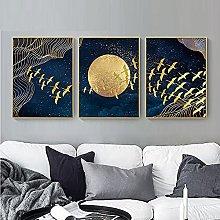 Yimesoy Golden Moon Bird Abstract Auspicious Wall