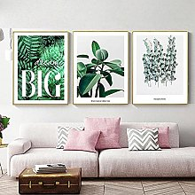 Yimesoy Nordic Fresh Abstract Green Leaves Poster