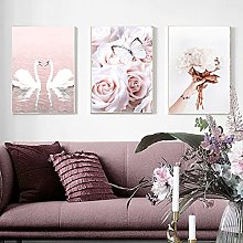 Yimesoy Nordic Pink Rose Butterfly Swan Line Wall