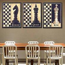 Yimesoy Retro Chess Canvas Painting Wall Art