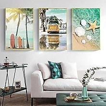 Yimesoy Surfboard Sea Beach Palm Coconut Tree