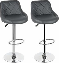 YINGGEXU 2Pcs Bar Chair Brown Stainless Steel