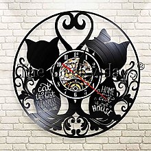 YINU 1Piece Couple Cats Vinyl Record Wall Clock