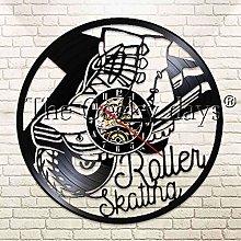 YINU 1Piece Roller Skate Vinyl Clock Wall Clock