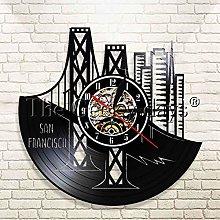 YINU 1Piece San Francisco Vinyl Record Wall Clock
