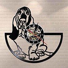 YINU Basset Hound Dog Grooming Vinyl Clock Wall