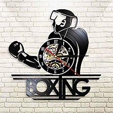 YINU Boxing Record Wall Clock Vintage LED Vinyl