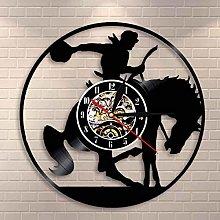 YINU Cowboy Wall Art Wall Clock Horse Rider Vinyl