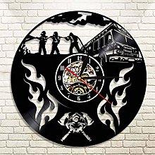 YINU Firefighter Vinyl Record Wall Clock Modern