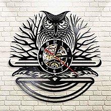 YINU Owl Ornament Vinyl Record Black Clock Watch