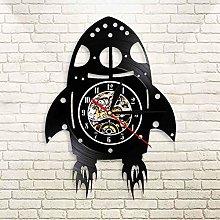 YINU Retro Rocket Ship Wall Clock with LED