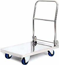 YISUNF Rolling Cart Stainless Steel Platform Hand