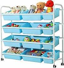 YISUNF Rolling Cart Toy Storage Unit, White Frame