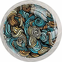 Yitian 4 Pack Cabinet Knobs Abstract Stripes Print