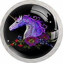 Yitian 4 Pack Cabinet Knobs Abstract Unicorn with