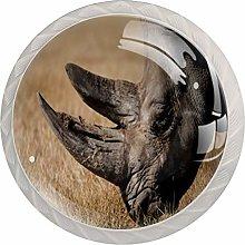 Yitian 4 Pack Cabinet Knobs African Rhinoceros